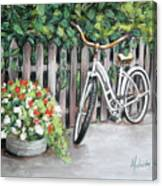Bicycle On Fence Canvas Print