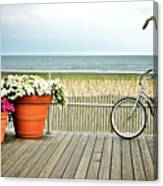 Bicycle On The Ocean City New Jersey Boardwalk. Canvas Print