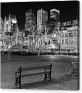 Bicycle On The Plein At Night - The Hague  Canvas Print