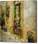 Rhodes, Greece - Bicycle Planter Canvas Print