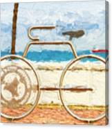 Seaside Bicycle Stand Canvas Print