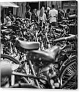Bicycles Amsterdam Black And White Canvas Print