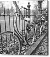 Bicycles Parked At Fence On Street, Netherlands Canvas Print