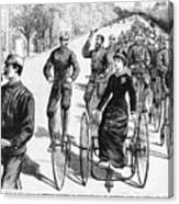 Bicyclist Meeting, 1884 Canvas Print