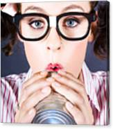 Big Business Kid Making Phone Call With Tin Cans Canvas Print