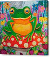 Big Green Frog On Red Mushroom Canvas Print