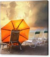 Big Orange Beach Umbrella Watercolor Painting Canvas Print
