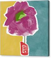 Big Purple Flower In A Small Vase- Art By Linda Woods Canvas Print