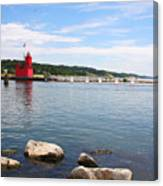 Big Red Light On The Lake Canvas Print