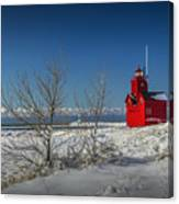 Big Red Lighthouse In Winter Canvas Print