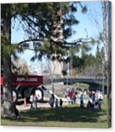 Big Red Wagon In Riverfront Park Canvas Print