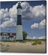 Big Sable Lighthouse Under Cloudy Blue Skies Canvas Print