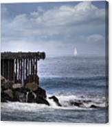 Big Sea Small Boat Canvas Print