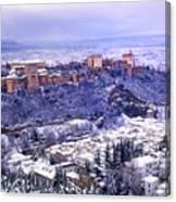 Big Snow In The Alhambra Granada  Canvas Print