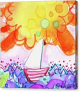 Big Sun And Sailboat Canvas Print
