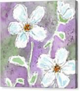 Big White Flowers Canvas Print