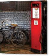 Bike - Two Bikes And A Gas Pump Canvas Print