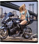 Bike, Babe, And Bridge In The Big Apple Canvas Print