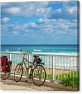 Bike Break At The Beach Canvas Print