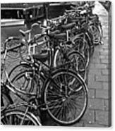 Bike Parking -- Amsterdam In November Bw Canvas Print