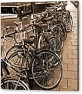 Bike Parking -- Amsterdam In November Sepia Canvas Print