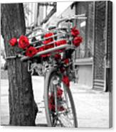 Bike With Red Roses Canvas Print