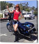 Biker Girl. Model Sofia Metal Queen Canvas Print