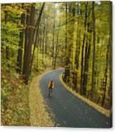 Biker On Road Amidst Fall Foliage Canvas Print