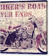 Biker's Road Never Ends Canvas Print