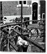 Bikes Hanging Out Mono Canvas Print