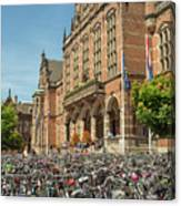 Bikes In Front Of Dutch University Canvas Print