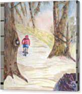 Biking In The Woods Canvas Print
