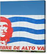 Billboard With The Iconic Che Guevara Portrait And National Cuban Flag Canvas Print