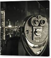 Binocular In New York City, Image In Grunge And Retro Style. Canvas Print