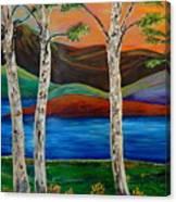 Birch By The Lake Canvas Print