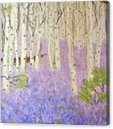 Birch Trees And Grape Hyacynths Canvas Print