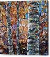 Birch Trees Oil Painting With Palette Knife  Canvas Print