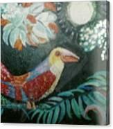 Bird And Moonshine Canvas Print