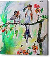 Bird Feeding Baby Watercolor Canvas Print