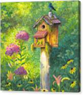 Bird House And Bluebird  Canvas Print