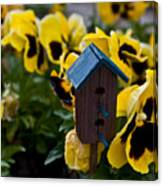 Bird House And Pansies Canvas Print