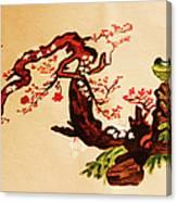 Bird On Branch Canvas Print