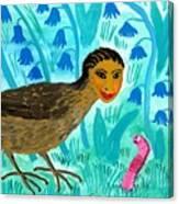 Bird People Blackbird And Worm Canvas Print