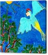 Bird People Green Woodpecker Canvas Print