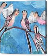 Bird People Long Tailed Tits Canvas Print