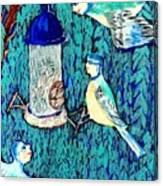 Bird People The Bluetit Family Canvas Print