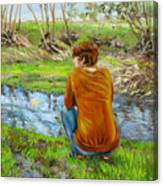 Bird Watching By The Creek Canvas Print