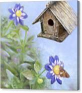 Birdhouse In A Country Garden Canvas Print