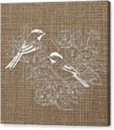 Birds And Burlap 2 Canvas Print