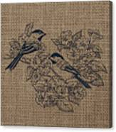 Birds And Burlap 1 Canvas Print